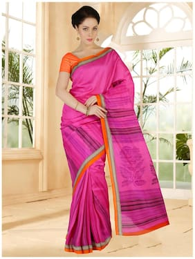 Sareemall Pink Bhagalpuri Printed Saree With Unsitiched Blouse