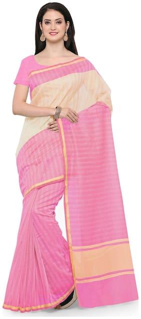 Sareemall Pink Printed Art Silk Zari Thread Border Saree With Unstitched Blouse With Heavy Pallu