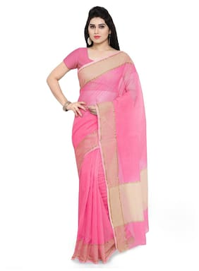Sareemall Pink Festive Wear Super Net Solid Saree With Unstitched Blouse