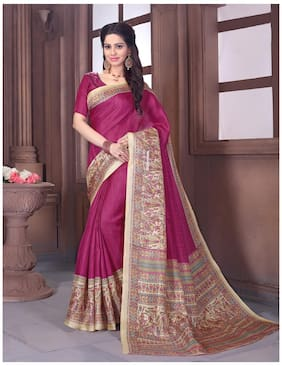 Sareemall Pink & Beige Casual Khadi Silk Madhubani Printed Saree With Unstitched Blouse