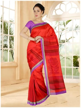 Sareemall Red Bhagalpuri Printed Saree With Unsitiched Blouse