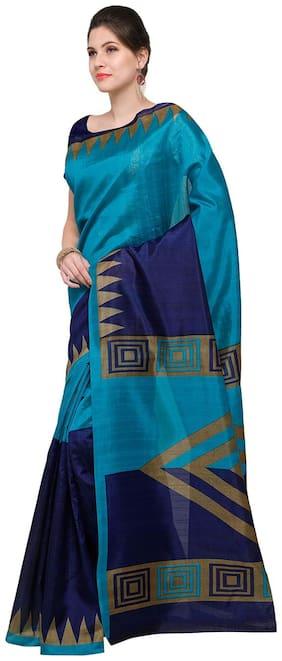 Sareemall Sky Blue Casual Bhagalpuri Silk Block print Saree With Unstitched Blouse