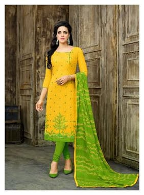 Saree Mall Cotton Printed Dress Material for Kurta - Yellow