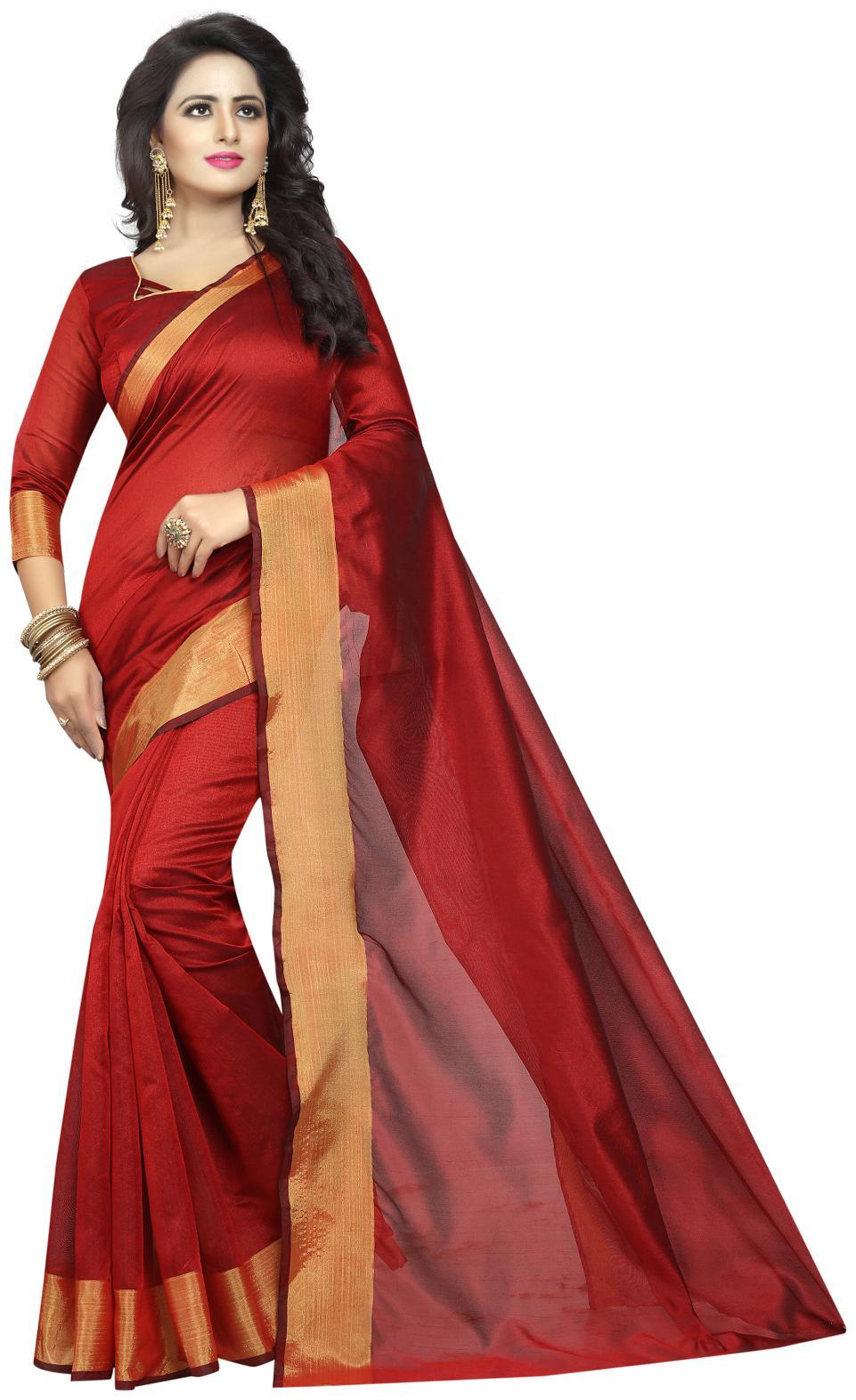 Sarees Women Mode Multi Color Cotton Silk Casual Wear Saree