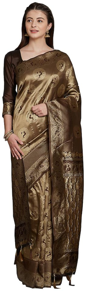 Sareeshop Copper Metalic Color Universal Jaquard silk tie&dye work saree with blouse