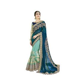 SareeShop Firozi Color Fancy Embroidred Georgette Saree With Designer Blouse