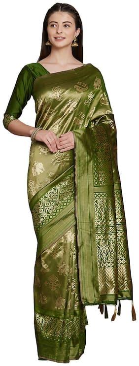 Sareeshop Green Color Universal Jaquard silk tie&dye work saree with blouse