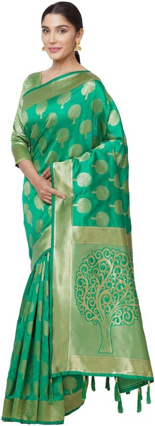 SareeShop Green art silk kanjivaram style saree with blouse