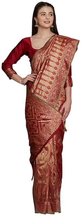 Sareeshop Maroon Color Universal Jaquard silk tie&dye work saree with blouse