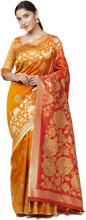 SareeShop Yellow art silk kanjivaram style saree with blouse