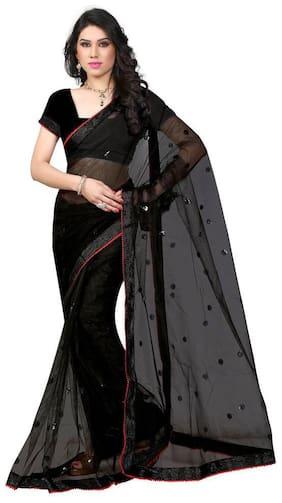 Sargam Fashion Women's Black Net Saree With Blouse Piece