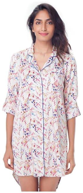 e83b4a42 PrettySecrets Polyester T-shirt Nighty Printed Nightwear White - (Pack of 1  )