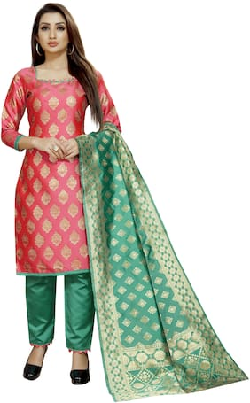 Satyam Weaves Pink Unstitched Kurta with bottom & dupatta With dupatta Dress Material