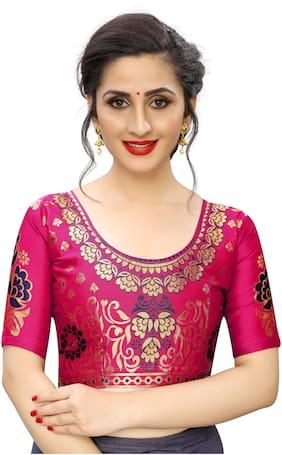 Satyam Weaves Women Silk Woven Blouse Pink