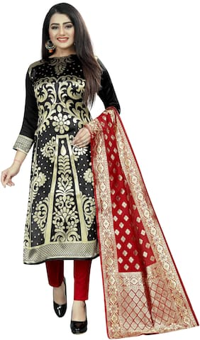 Satyam Weaves Black Unstitched Kurta with bottom & dupatta With dupatta Dress Material