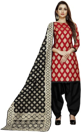 Satyam Weaves Red Unstitched Kurta with bottom & dupatta With dupatta Dress Material