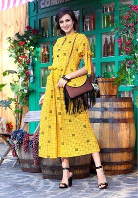 Saubhagyawati Fashions Women Rayon Block Printed Ankle Length With Cold Shoulder & Node Style yellow Kurta