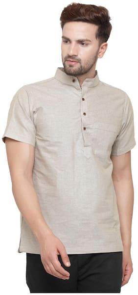 Sayesha Men Short Cotton Solid Kurta - Brown