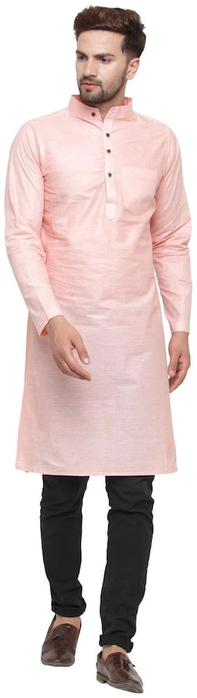 Sayesha Men Long Cotton Solid Kurta - Peach