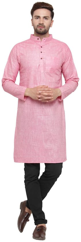 Sayesha Men Long Cotton Solid Kurta - Pink