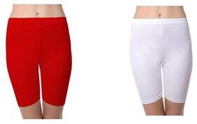 SBF Solid Plain Hosiery Shorts Tight Knee Length Spandex Stretch Athletic Yoga Bike (Set of-2)