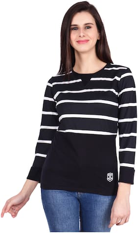 SBO FASHION Women Striped Round neck T shirt - Black