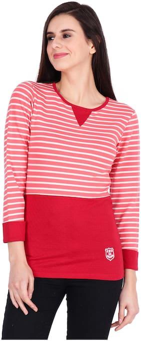 SBO FASHION Women Striped Round neck T shirt - Red