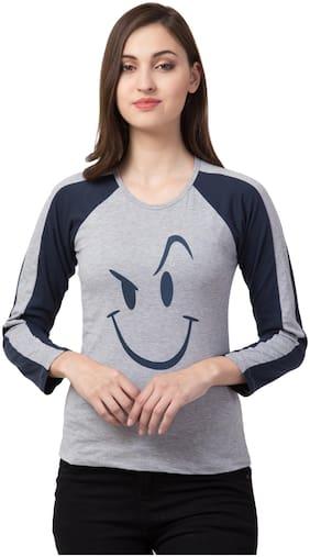 SBO FASHION Grey Color Full Sleeve Printed Women's T-Shirt