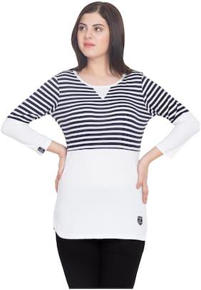 SBO FASHION Women Blue Regular fit Round neck Cotton T shirt