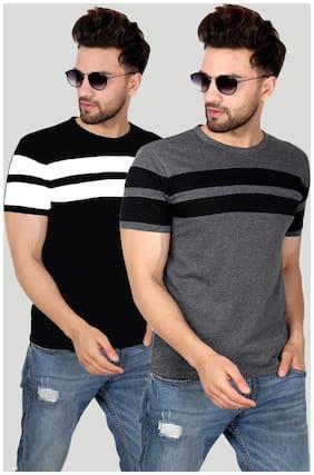 Men Round Neck Striped T-Shirt