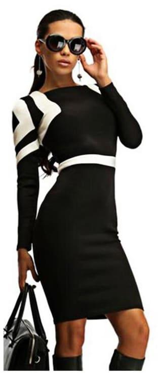 Scoop Collar Long Sleeve Geometric Print Color Block Bodycon Midi Dress for Women # International Bazaar