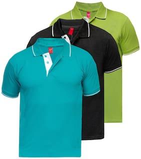 Scott International Men Multi Regular fit Cotton Polo collar T-Shirt - Pack Of 3