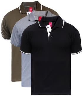 Men Polo Collar Solid T-Shirt Pack Of 3