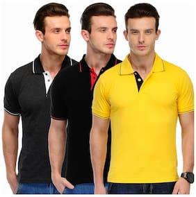 Scott International Men Multi Slim fit Cotton Polo collar T-Shirt - Pack Of 1