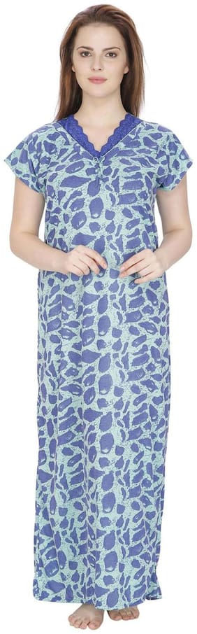 352fbde08a Secret Wish Cotton Night Gown Printed Nightwear Blue - (Pack of 1 )