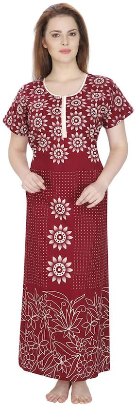 Secret Wish Cotton Night Gown Printed Nightwear Red - (Pack of 1 )