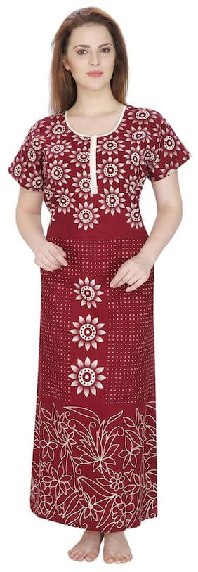 Secret Wish Cotton Night Gown Printed Nightwear Red - (Pack of 1 ) 801058e84