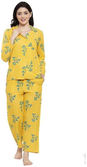 Secret Wish Women Cotton Floral Top and Pyjama Set - Yellow