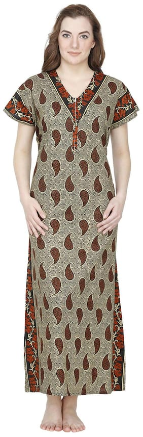 Secret Wish Cotton Night Gown Printed Nightwear Brown - (Pack of 1 ) 32e410c0b