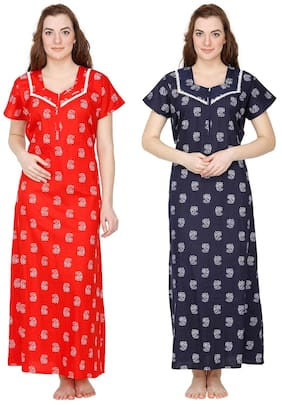 Secret Wish Cotton Night Gown Printed Nightwear Multi - (Pack of 2 ) a5bb8727a
