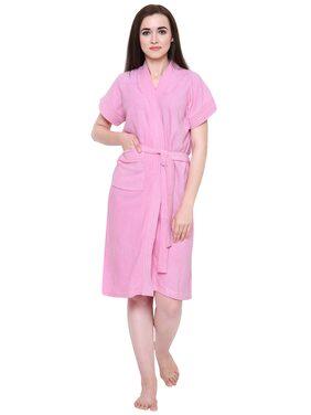 Secret Wish Women's Light-Pink Cotton Bathrobe (Free Size)