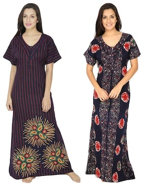 5a60dc95cf Secret Wish Cotton Night Gown Printed Nightwear Blue - (Pack of 2 )