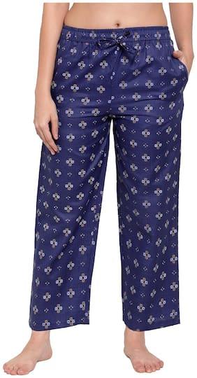 Secret Wish Women Cotton Printed Pyjama - Navy Blue