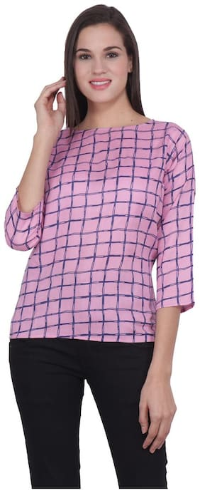 SEE ONCE Women Checked Regular top - Pink
