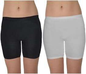 Women Cotton Slim Fit Shorts ,Pack Of 2