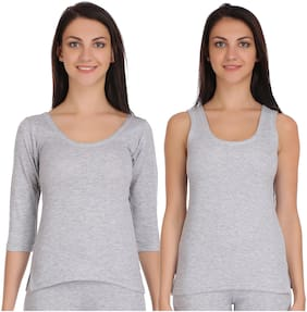 Selfcare Winter Collection Women Light Grey Tops Thermal
