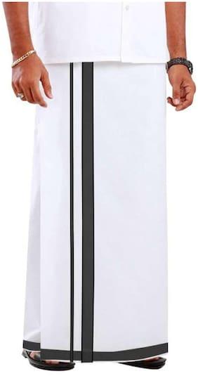 R SELVAMANI TEX RST Cotton Solid Mundu Dhoti - White