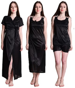 2d80ed89e6a99 Senslife Black Satin Nightwear 4 Pc Set of Nighty;Wrap Gown;Top & Shorts