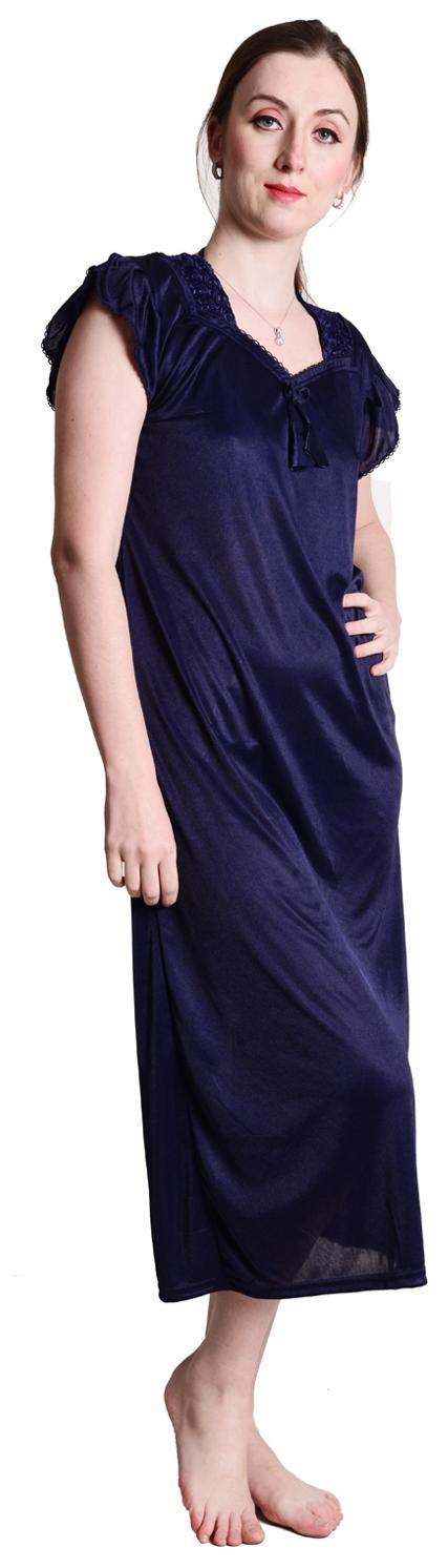 Buy Senslife Navy Satin Nightwear 4 Pc Set of Nighty Wrap Gown Top   Pajama  Online at Low Prices in India - Paytmmall.com 1d195fff5