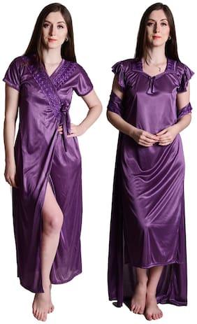 Senslife Purple Satin Nightwear 2 pc Set of Nighty & Wrap Gown